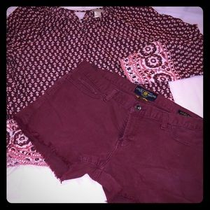 Lucky Brand Riley cutoff shorts in maroon red